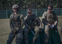 Three 628th Civil Engineer Squadron, Explosive Ordnance Disposal flight, Airmen listen to a pre-training safety brief March 22, 2019, at a training compound on the Joint Base Charleston, S.C. - Naval Weapons Station.