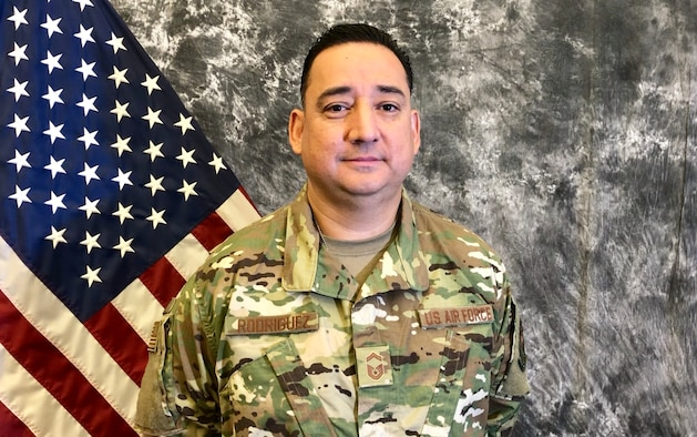 MARCH AIR RESERVE BASE, CALIF (March 25, 2019) --- Senior Master Sgt. Jorge Rodriguez was presented with the Arrowhead Regional Medical Center's Nurse of the Year award early this year
