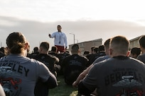 U.S. Marine Corps Gunnery Sgt. Juan Aguilera, a Physical Training Instructor with U.S. Marine Corps Officer Candidate School, answers questions during a Mini OCS at U.S. Army Reserve Camp Parks in Dublin, Calif., March 23, 2019. Mini OCS is designed to give candidates and applicants an idea of what to expect at Marine Corps Officer Candidate School. (U.S. Marine Corps photo by Sgt. Christian Cachola)