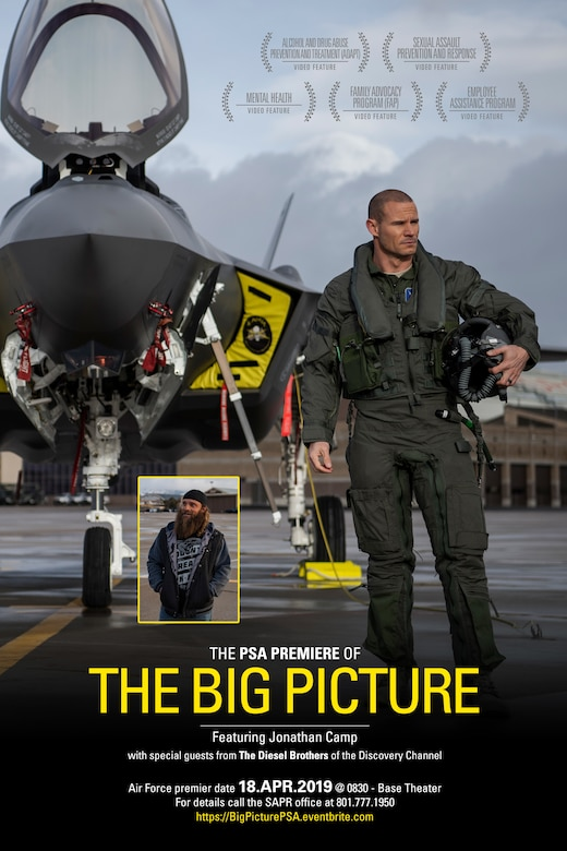 A free premiere of a resiliency-themed public service announcement called The Big Picture will be held in the base theater from 8:30-9:30 a.m. April 18 at Hill Air Force Base, Utah. The ad illustrates how Airmen play a critical role defending the nation, but that the Air Force also recognizes no one can perform at maximum capacity at all times. (U.S. Air Force illustration by David Perry)