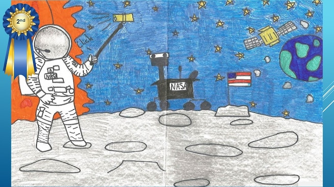 The National Museum of the U.S. Air Force's 36th Annual Student Aviation Art Competition 2nd place winner in the 4th-6th grades category is A. Castillo. Student artists from around the country were asked to consider the 50th anniversary of the moon landing and what it would look like if mankind returned to the moon today.