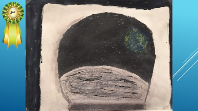 The National Museum of the U.S. Air Force's 36th Annual Student Aviation Art Competition 3rd place winner in the 4th-6th grades category is E. Fuller. Student artists from around the country were asked to consider the 50th anniversary of the moon landing and what it would look like if mankind returned to the moon today.
