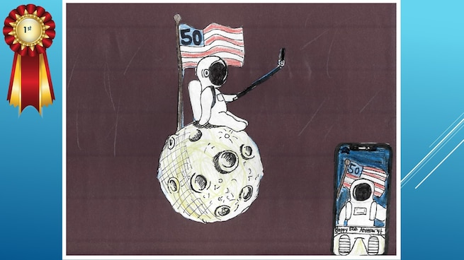 The National Museum of the U.S. Air Force's 36th Annual Student Aviation Art Competition 1st place winner in the 7th-9th grades category is S. Wacht. Student artists from around the country were asked to consider the 50th anniversary of the moon landing and what it would look like if mankind returned to the moon today.