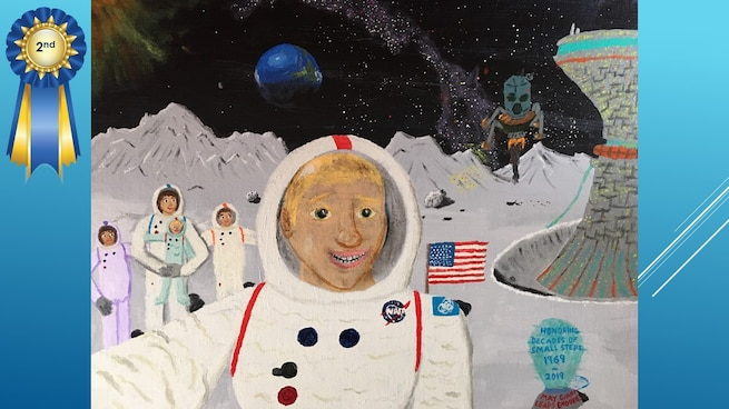 The National Museum of the U.S. Air Force's 36th Annual Student Aviation Art Competition 2nd place winner in the 7th-9th grades category is J. Cahoon. Student artists from around the country were asked to consider the 50th anniversary of the moon landing and what it would look like if mankind returned to the moon today.
