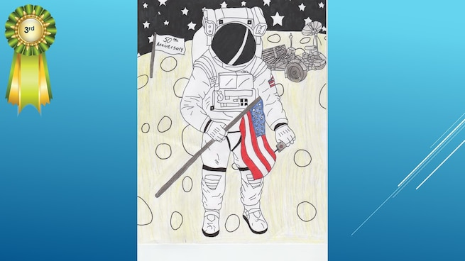The National Museum of the U.S. Air Force's 36th Annual Student Aviation Art Competition 3rd place winner in the 7th-9th grades category is H. Leach. Student artists from around the country were asked to consider the 50th anniversary of the moon landing and what it would look like if mankind returned to the moon today.