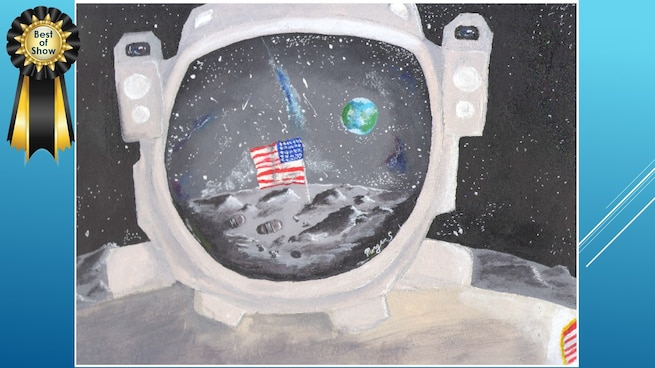 The National Museum of the U.S. Air Force's 36th Annual Student Aviation Art Competition Best of Show winner is M. Spicer. Student artists from around the country were asked to consider the 50th anniversary of the moon landing and what it would look like if mankind returned to the moon today.