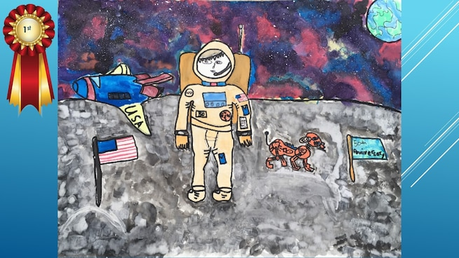 The National Museum of the U.S. Air Force's 36th Annual Student Aviation Art Competition 1st place winner in the K-1st grades category is N. Back. Student artists from around the country were asked to consider the 50th anniversary of the moon landing and what it would look like if mankind returned to the moon today.