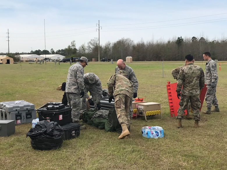 Members of the 263rd Combat Communications Squadron participate in the Combat Communications (CBC) Rodeo while at Robins Air Force Base, Georgia, Mar. 13, 2019. The CBC Rodeo is a Nationwide training exercise that brings together Combat Communications Squadrons from across the country to train in techniques and skills while networking to increase the potential success of future deployments.