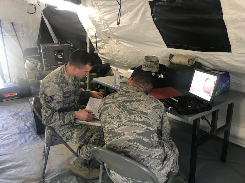 Members of the 263rd Combat Communications Squadron participate in the Combat Communications (CBC) Rodeo while at Robins Air Force Base, Georgia, Mar. 7, 2019. The CBC Rodeo is a Nationwide training exercise that brings together Combat Communications Squadrons from across the country to train in techniques and skills while networking to increase the potential success of future deployments.