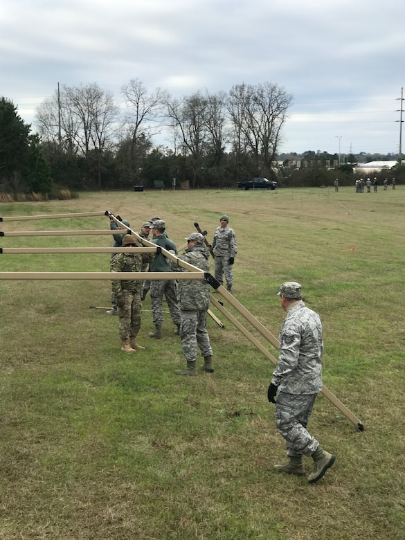A mobile deployment tent erected is erected by members of the 263rd Combat Communications Squadron for their participation in the Combat Communications (CBC) Rodeo while at Robins Air Force Base, Georgia, Mar. 4, 2019. The CBC Rodeo is a Nationwide training exercise that brings together Combat Communications Squadrons from across the country to train in techniques and skills while networking to increase the potential success of future deployments.