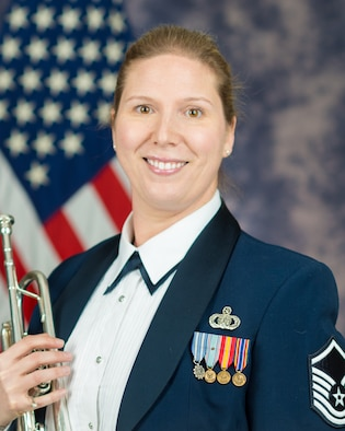 Official photo of Master Sgt. Blakely Carroll Rosengaft, Trumpeter with The United States Air Force Band, Joint Base Anacostia-Bolling, Washington, D.C.