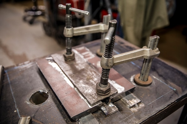 Close up of the welding jig Smith developed.