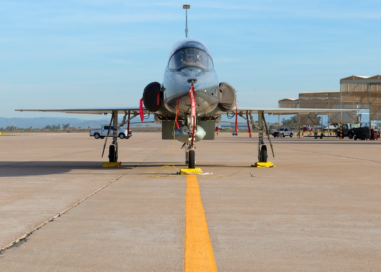 A T-38C Talon, assigned to Vance Air Force Base, Okla., sits on the flightline, March 26, 2019, at Luke Air Force Base, Ariz.