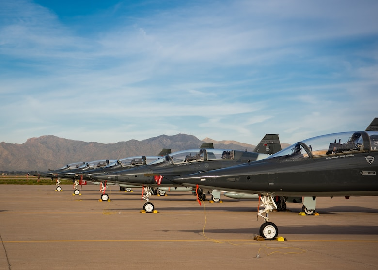 T-38C Talons, assigned to Vance Air Force Base, Okla., and Columbus Air Force Base, Miss., sit on the flightline March 26, 2019, at Luke Air Force Base, Ariz.