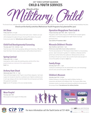 April is Month of the Military Child and the Malmstrom Youth Programs has events throughout the month to celebrate.