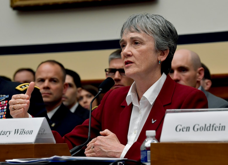 Secretary of the Air Force Heather Wilson testifies during a House Armed Services Committee hearing in Washington D.C., April 2, 2019. The committee convened to discuss fiscal year 2020 budget requests with the Air Force and Army senior leaders. (U.S. Air Force Photo by Wayne Clark)