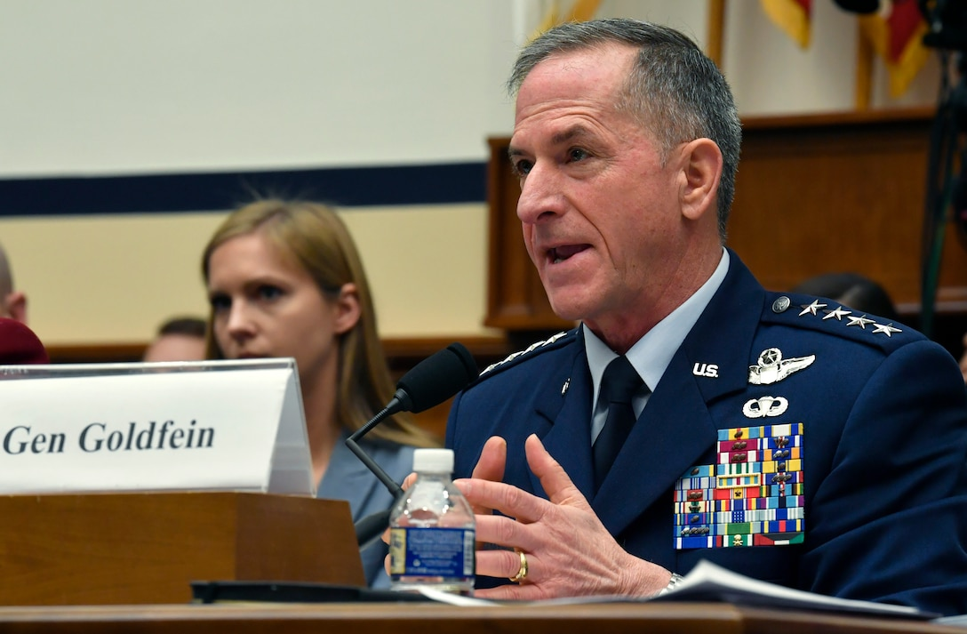 Air Force Chief of Staff Gen. David L. Goldfein testifies during a House Armed Services Committee hearing in Washington D.C., April 2, 2019. The committee convened to discuss fiscal year 2020 budget requests with the Air Force and Army senior leaders. (U.S. Air Force Photo by Wayne Clark)
