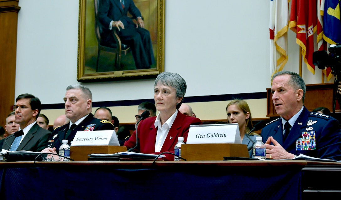 Secretary of the Air Force Heather Wilson and Air Force Chief of Staff Gen. David L. Goldfein testifies during a House Armed Services Committee hearing in Washington D.C., April 2, 2019. The committee convened to discuss fiscal year 2020 budget requests with the Air Force and Army senior leaders. (U.S. Air Force Photo by Wayne Clark)