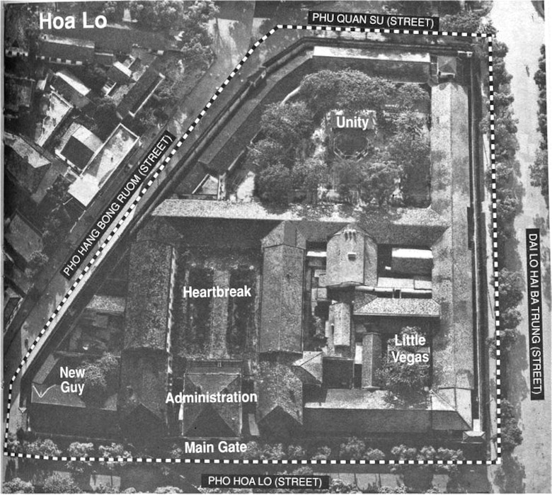 An aerial view of the Prisoner of War camp located at Hanoi, Vietnam in 1970. During the Vietnam War, the POWs sarcastically renamed this camp the Hanoi Hilton. (Courtesy photo)