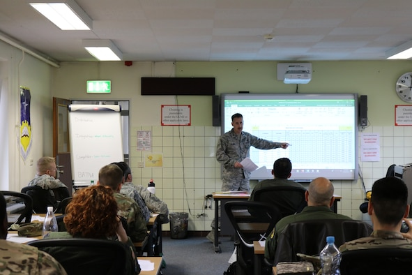 "Lt Col. Thomas McNab, 470th Air Base Squadron Staff Judge Advocate, teaches a Dispute Resolution Training course at Geilenkirchen NATO Air Base, Germany, Mar 26, 2019. The course is designed to provide leaders with a ""tool kit"" to better solve problems encountered in the workplace. (Courtesy photo)"
