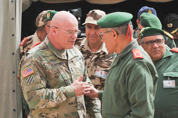 Maj. Gen. Roger L. Cloutier Jr., U.S. Africa Chief of Staff and other distinguished guests tour the field hospital in Tata during the humanitarian civic assistance component of exercise African Lion 2019 in Tata, Morocco, March 30, 2019. African Lion 2019 is a Chairman of the Joint Chiefs of Staff-sponsored, U.S. African Command-scheduled, U.S. Marine Corps Forces Europe and Africa-led, joint and combined exercise conducted in the Kingdom of Morocco. African Lion offers an opportunity for participation in a multinational exercise to enhance professional relationships and allow support for interoperability of forces.(U.S. AIr Force illustration)