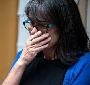 Rita Ibanez gets emotional while talking about her 2015 experience as an extracorporeal membrane oxygenation patient at Brooke Army Medical Center, Joint Base San Antonio-Fort Sam Houston, March 22. Ibanez reached out to BAMC via social media, because she wanted the opportunity to thank the medical professionals who cared for her and to see firsthand the machine that helped save her life.