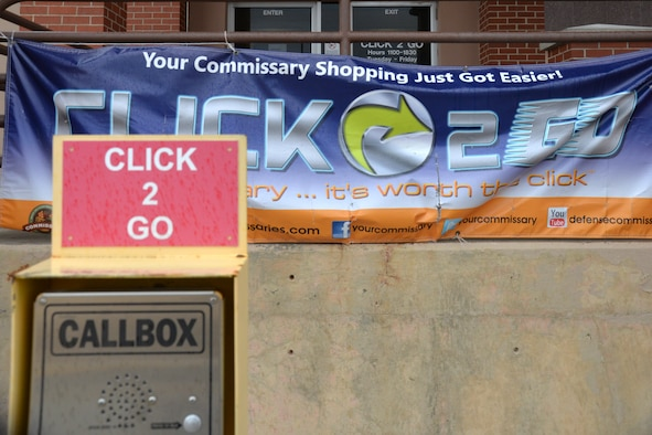 CLICK2GO call box stands in the parking lot of the Offutt Air Force Base, Nebraska, Commissary April 2, 2019. The program started in 2013. (U.S. Air Force photo by D. P. Heard)