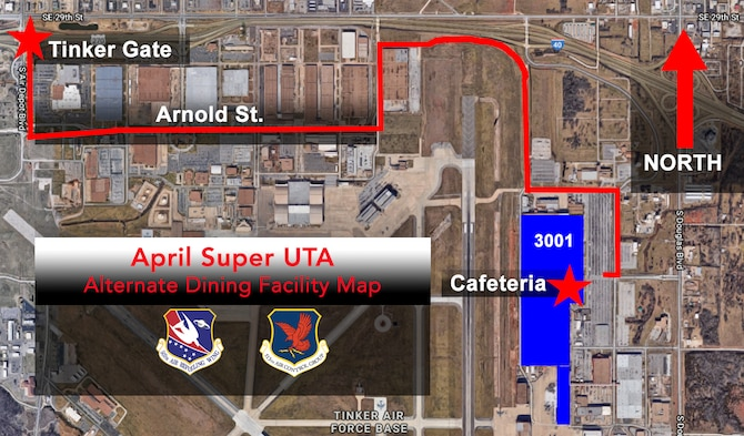 During the April Unit Training Assembly April 4-7, 2019, Reservists at Tinker Air Force Base, Oklahoma, will receive their meals at Bldg. 3001 Cafeteria and at Golden Corral in Midwest City, Oklahoma. (U.S. Air Force image by Lauren Gleason)