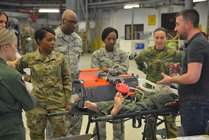 Medical professionals from around Europe and Africa receive small-group training at Ramstein Air Base, Germany, April 3, 2019. The 2019 European African Military Nursing Exchange is the 6th iteration of its kind, with extensive planning and coordination to connect partner nations in a collaborative environment that promotes hands-on training scenarios. (U.S. Air Force photo by Tech. Sgt. Jessica Hines)