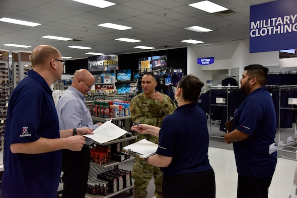 Air Force Chief Master Sgt. Luis Reyes, the Exchange's senior enlisted advisor, speaks to Exchange employees at the Laughlin Base Exchange, March 26, 2019 at Laughlin Air Force Base, Texas. Reyes visited the Laughlin BX, Commissary and Shoppette as part of a tour of Exchange facilities. (U.S. Air Force photo by Senior Airman John A. Crawford)