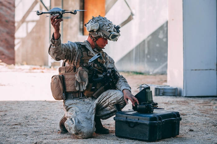 U.S. Marine Corps Lance Cpl. Nicholas Nguyen with 1st Battalion, 7th Marine Regiment, 1st Marine Division, flies a small unmanned aerial system Integrated Training Exercise (ITX) 2-19 at Range 220 on Marine Corps Air Ground Combat Center, Twentynine Palms, Calif., Feb. 9, 2019. The purpose of ITX is to create a challenging, realistic training environment that produces combat-ready forces capable of operating as an integrated Marine Air Ground Task Force. (U.S. Marine Corps photo by Lance Cpl. Corey Mathews)