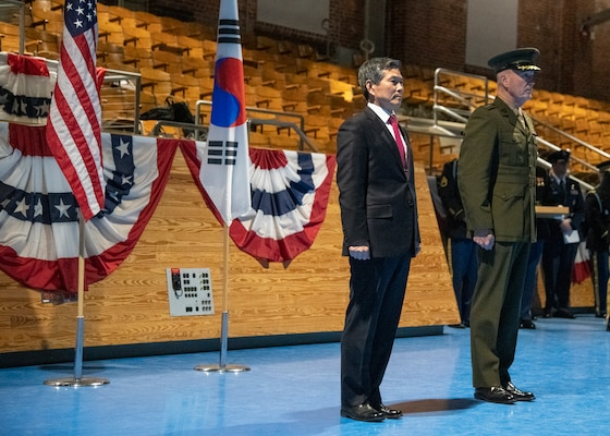 Marine Corps Gen. Joe Dunford, chairman of the Joint Chiefs of Staff, hosts a Armed Forces Full Honor Arrival Ceremony for Minister of National Defense of the Republic of Korea Jeong Kyeong-doo, at Conmy Hall on Joint Base Myer-Henderson Hall, April 2, 2019.