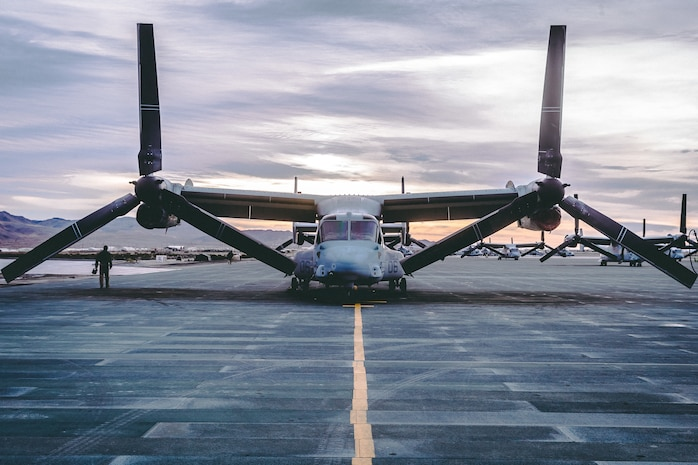 An MV-22 Osprey with Marine Aircraft Group 13, 3rd Marine Aircraft Wing sits on the flightline  in preparation for a training exercise on Marine Corp Air Ground Combat Center, Twentynine Palms, Calif., Feb 15, 2019. Exercises such as this provide realistic training necessary for 3rd MAW as the Marine Corps' Largest aircraft wing and ensures the unit remains ready. (U.S. Marine Corps photo by Lance Cpl. Colton Brownlee)