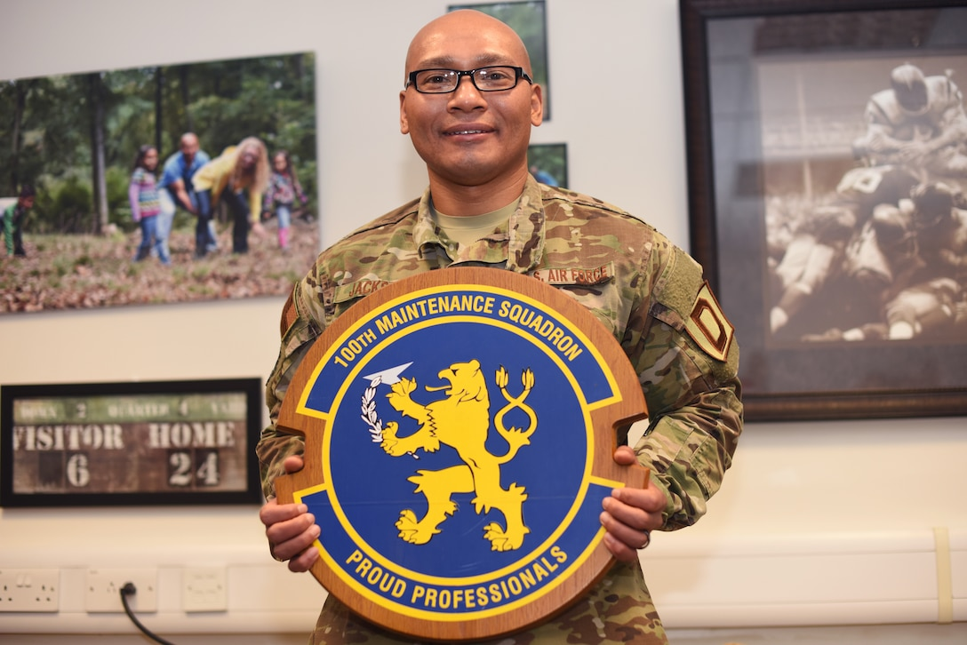 U.S. Air Force Senior Master Sgt. Michael Jackson, 100th Maintenance Squadron first sergeant, poses for a photo at RAF Mildenhall, England, March 6, 2019. Jackson, who was born in Pohang City, South Korea, has been a first sergeant at Laughlin Air Force Base, Texas and RAF Mildenhall, England. (U.S. Air Force photo by Airman 1st Class Brandon Esau)