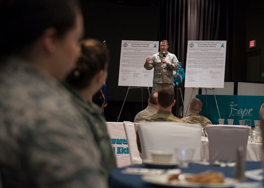 U.S. Air Force Col. William Betts, commander of the 51st Fighter Wing, speaks at the kickoff of Sexual Assault Awareness and Prevention Month (SAAPM) at Osan Air Base, Republic of Korea, April 3, 2019. Betts signed the SAAPM proclamation, which pledged Team Osan's commitment to make every effort to reduce and eliminate sexual assaults here and across the Air Force. (U.S. Air Force photo by Staff Sgt. Ramon A. Adelan)