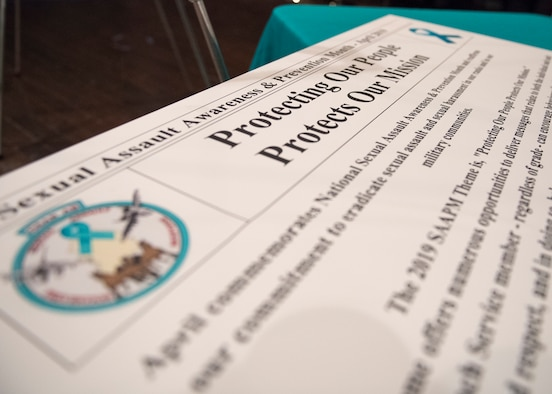 A proclamation for Sexual Assault Awareness and Prevention Month sits on a table at Osan Air Base, Republic of Korea, April 3, 2019. By signing the proclamation, Betts pledged Team Osan's commitment to make every effort to reduce and eliminate sexual assaults here and across the Air Force. (U.S. Air Force photo by Staff Sgt. Ramon A. Adelan)