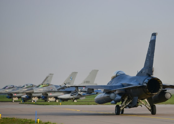 F-16 aircraft from the Minnesota Air National Guard 148th Fighter Wing are at Leeuwarden Air Base in the Netherlands for the 2019 Frisian Flag, March 28, 2019.  Frisian Flag is a 12-day NATO partnership exercise in the Netherlands that will allow all international participants of the exercise to execute training on operational tactics in a global setting.