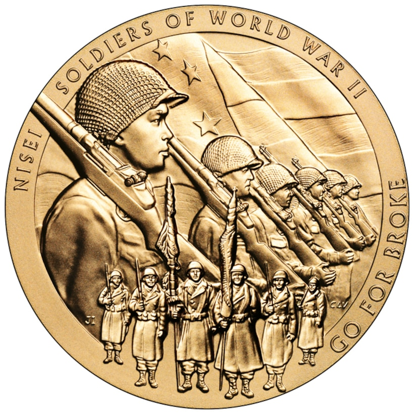 """A gold medal with the image of Japanese American World War II soldiers and the words """"Nisei soldiers of World War II Go for Broke"""""""