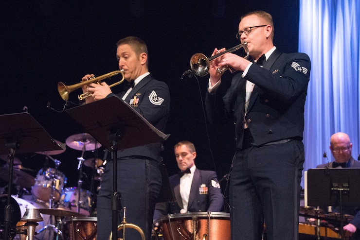 Trumpet players TSgt Carl Eitzen and SSgt Dan Thrower