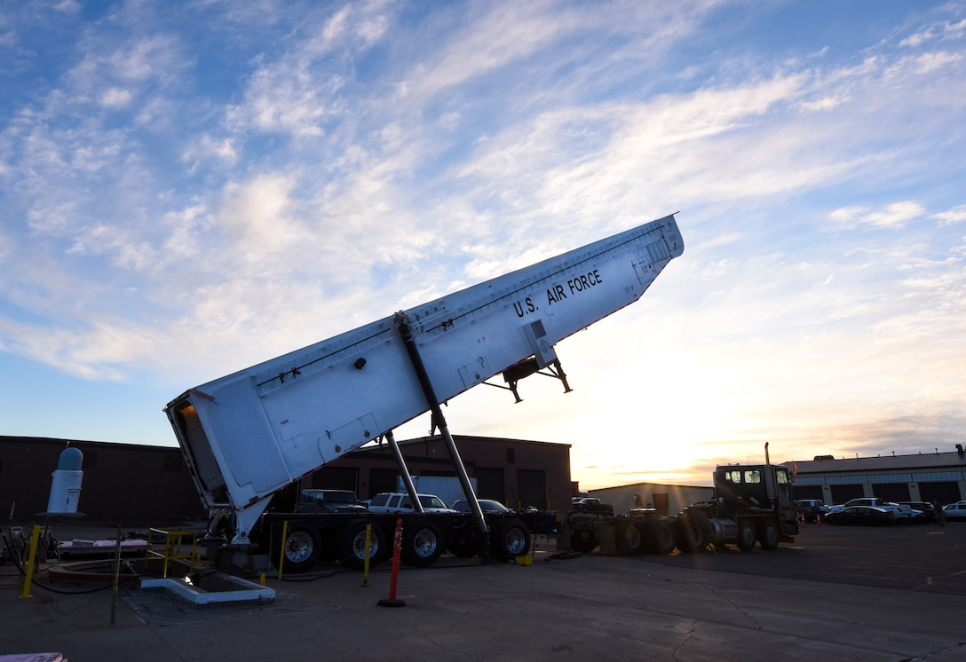 Rise & Shine: Team Minot Airmen test ICBM rocket loading system