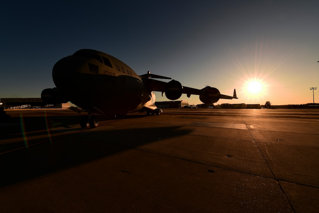 A C-17 Globemaster III assigned to the 911th Airlift Wing sits on the flightline at the Pittsburgh International Airport Air Reserve Station, Pennsylvania, March 26, 2019. The C-17 is capable of rapid strategic delivery of troops and all types of cargo to main operating bases or directly to forward bases in the deployment area.
