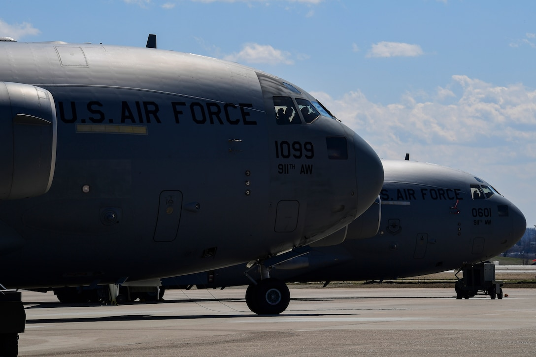 Airmen assigned to the 911th Operations Group prepare to depart for an overseas mission at the Pittsburgh International Airport Air Reserve Station, Pennsylvania, April 3, 2019. This was the first overseas mission that the 911th Airlift Wing flew directly out of Pittsburgh IAP ARS following the conversion to the C-17 Globemaster III.