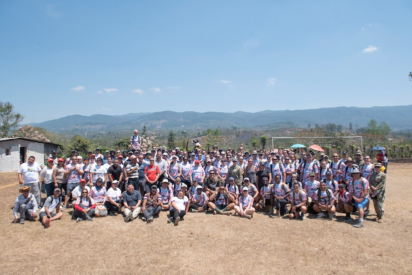 Joint Task Force-Bravo Chapel Hike 78 volunteers pose for a picture at a community center in La Paz, Honduras, March 30, 2019.
