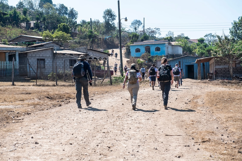 Joint Task Force-Bravo Chapel Hike 78 volunteers walk to a community center in the mountains of La Paz, Honduras, March 30, 2019.