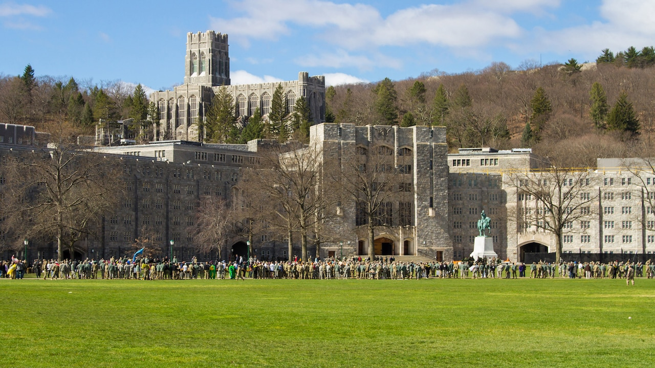 Crowd gathers in the courtyard in front of Washington Hall at West Point.