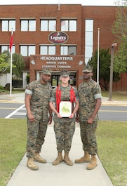 Cpl. Bo Haymaker, Marine air ground task force plans clerk, Enterprise Distribution Division, G3/5, Marine Corps Logistics Command, was promoted to his current rank during a ceremony held at Building 3700, April 1.