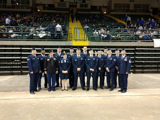 Members of the National Air and Space Intelligence Center volunteered as judges for the Air Force Junior Reserve Officers Training Corps Open Drill Nationals at the Nutter Center in Dayton Ohio, March 23, 2019. The annual competition allows cadets to show off what they have learned and gives them a chance to gain acceptance to the all-service National High School Drill Team Championships held in May at Daytona Beach Fl. (Courtesy photo)