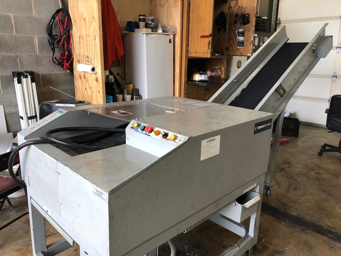A shredder received by the Putnam County Sheriff's Office stands by to serve at the facility for records retention destruction.