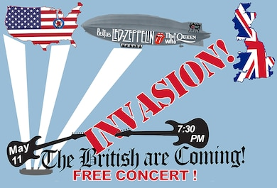FREE Concert! Come hear the iconic British rock bands such as the Beatles, Led Zeppelin, Queen, The Who and the Rolling Stones. The Air Force Band of Flight will perform such songs as Blackbird, Lady Madonna, Tumblin' Dice, Satisfaction, Good Times Bad Times, Under Pressure and Won't Get Fooled Again. There will be no tickets issued for this concert so come early.