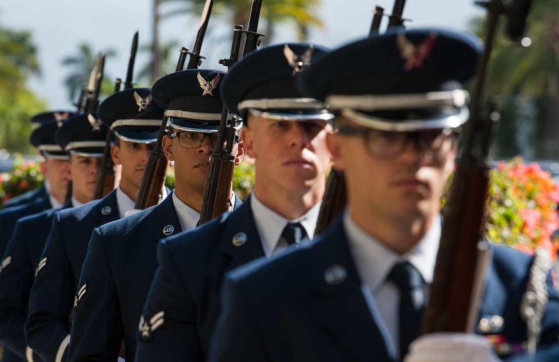 Airmen from the Hickam Field Honor Guard prepare for the arrival of a delegation from the Mongolian Air Force Command at Headquarters Pacific Air Forces, Joint Base Pearl Harbor-Hickam, Hawaii, March 26, 2019.
